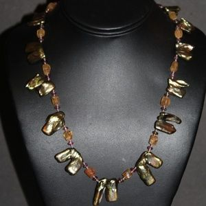 VTG STERLING ABALONE CITRINE TOURMALINE NECKLACE